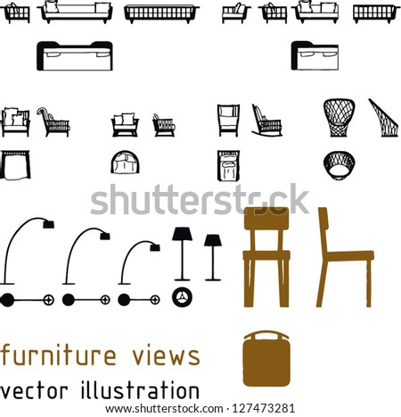 Set of editable silhouette vector. Furniture and light fixture. - stock vector