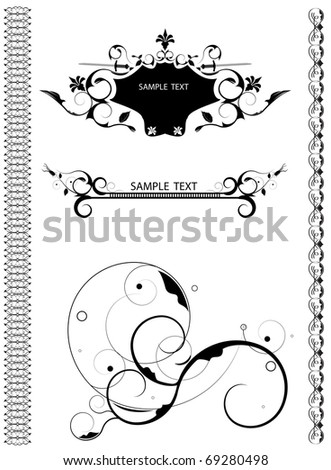 Set of editable vector design elements for your projects (individual objects). - stock vector