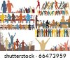 Set of editable vector foreground illustrations of colorful people - stock photo