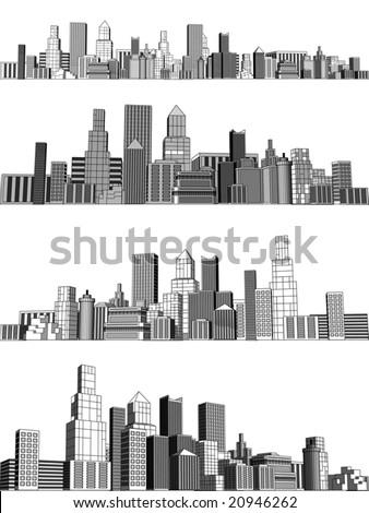 Set of editable vector generic city skylines - stock vector