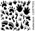Set of editable vector monster or alien footprints - stock photo
