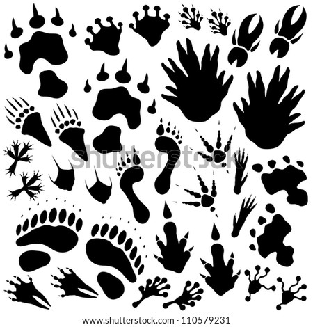 Set of editable vector monster or alien footprints - stock vector