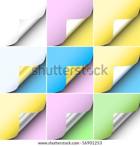Set of editable vector peeling corners of paper - stock vector
