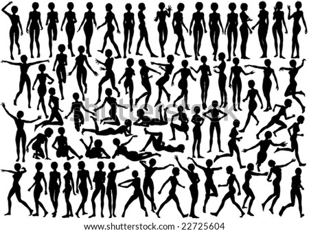 Set of editable vector silhouettes of a naked young woman