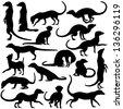 Set of editable vector silhouettes of meerkats in different postures - stock