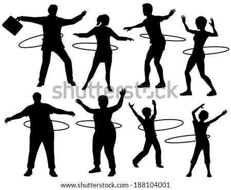 Set of editable vector silhouettes of people exercising with a hula hoop with figures and hoops as separate objects - stock vector