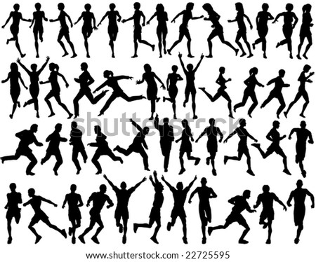 Set of editable vector silhouettes of people running - stock vector