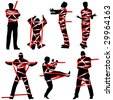 Set of editable vector silhouettes of people wrapped in red tape - stock photo
