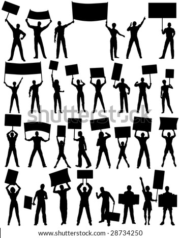 Set of editable vector silhouettes of protesters and banners with all elements as separate objects