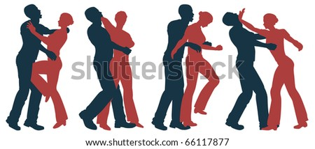 Set of editable vector silhouettes of self defense moves for women - stock vector