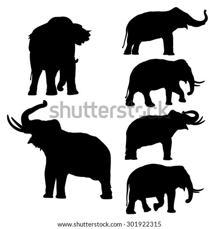Set of editable vector silhouettes of Thai elephants in various poses - stock vector