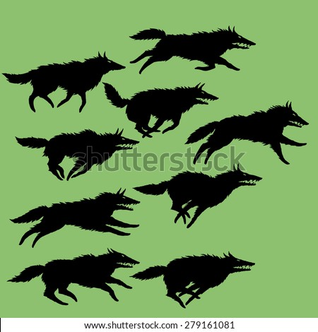 Set of editable vector silhouettes of wolves, running wolf pack - stock vector
