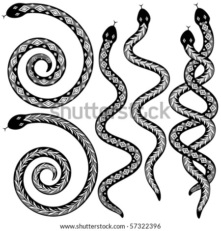 Set of editable vector snakes designs black and white - stock vector