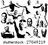 Set of editable vector traces of male figures - stock vector