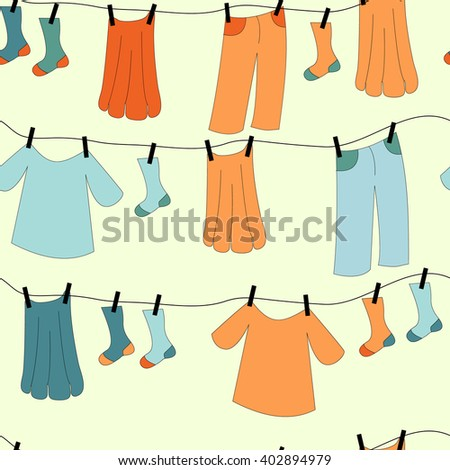 Set of editable vector washing lines with colorful drying clothes - stock vector