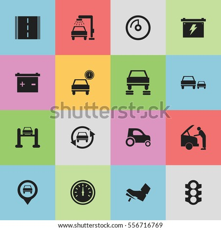 Set Of 16 Editable Vehicle Icons. Includes Symbols Such As Highway, Battery, Race And More. Can Be Used For Web, Mobile, UI And Infographic Design.