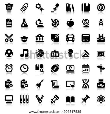 set of education and school flat icons, black color with reflex - stock vector