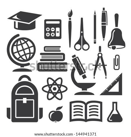Set of education and science icons on white background - stock vector