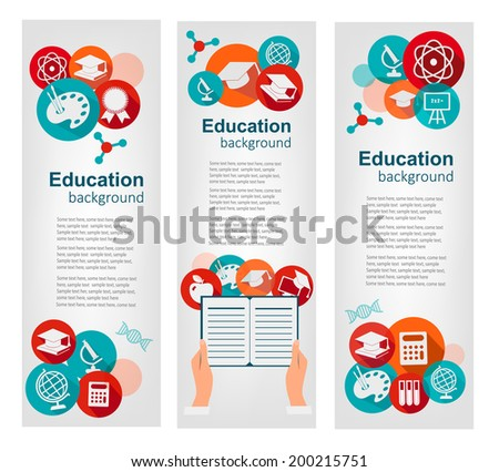 Set of education banners with icons. Vector  - stock vector