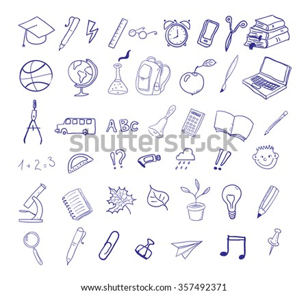Set of education hand drawn icons. Back to school icons.