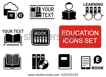 set of education icon with red accent - stock vector
