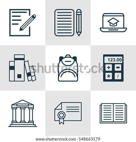 Set Of 9 Education Icons. Includes Distance Learning, Home Work, Electronic Tool And Other Symbols. Beautiful Design Elements.