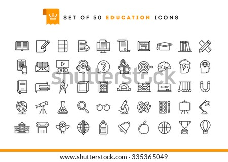 Set of 50 education icons, thin line style, vector illustration  - stock vector