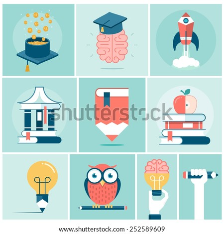 set of education related concept banners, vector illustration - stock vector