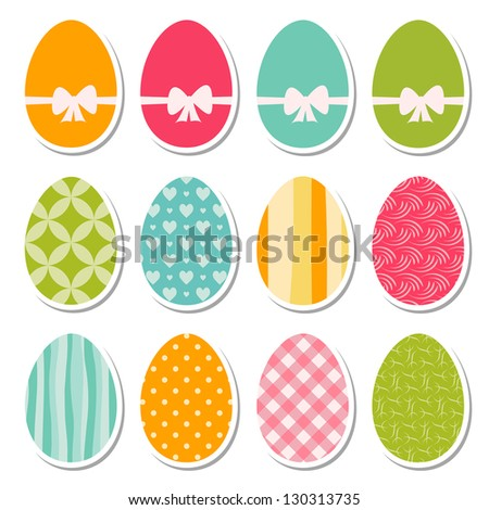 set of egg stickers - stock vector