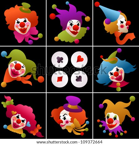 set of eight clown portraits wearing funny hats and accessories on dark background