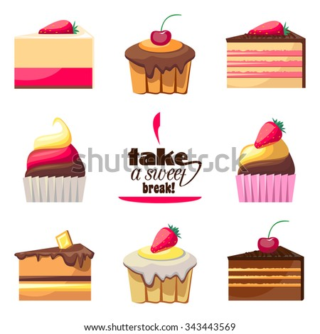 Set of eight delicious biscuits. Yummy cupcakes, donuts and muffins. Can be used for a dessert menu. Collection of bakery products. Take a sweet break. Have a snack. Assorted confectionery. Vector