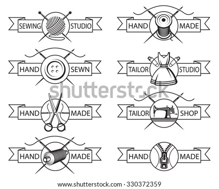 set of eight monochrome tailor labels - stock vector
