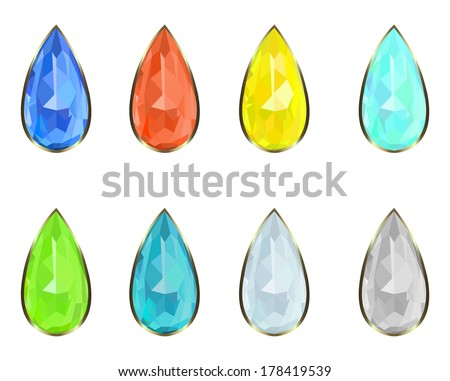 set of eight precious stones rim in gold - stock vector