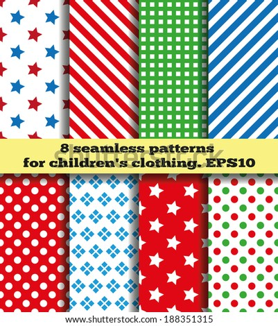 Set of eight samples of fabrics for children's clothing. Bright symmetric continuous pattern. Seamless texture.  - stock vector