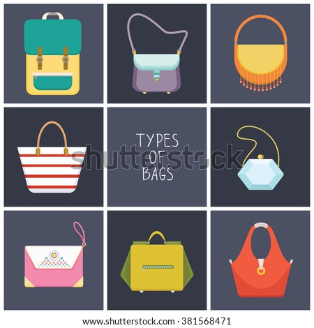 Set of eight simple flat icons of different hand bag types - vector illustration  - stock vector