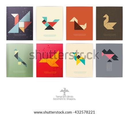 Set of eight tangram birds. geometric shapes, Vector illustration