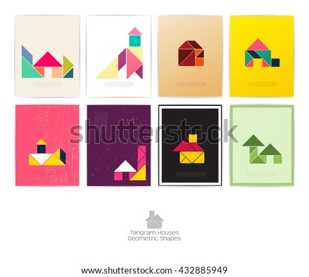 Set of eight tangram houses. geometric shapes, Vector illustration