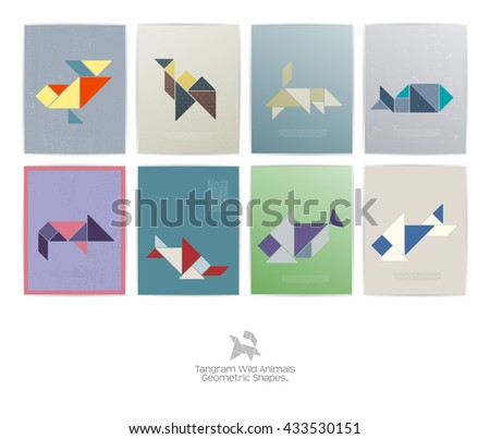 Set of eight tangram wild animals. geometric shapes, Vector illustration