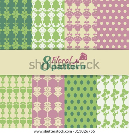 Set of eight vector seamless pattern