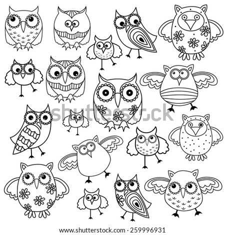 Set of eighty funny owls, black vector contour isolated on white background - stock vector