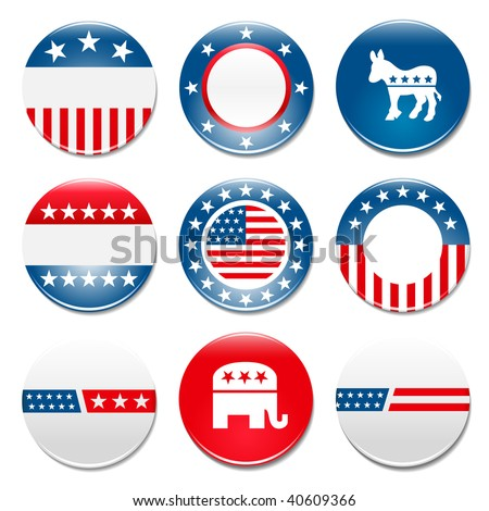 Set of 9 election campaign badges - stock vector