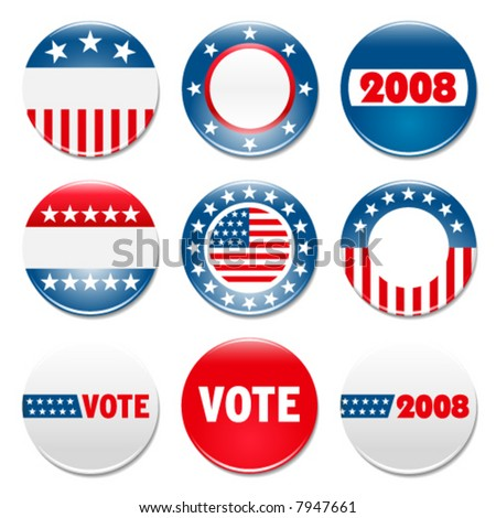 Set of 9 election campaign badges