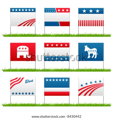 Set of 9 election campaign political yard signs - stock vector