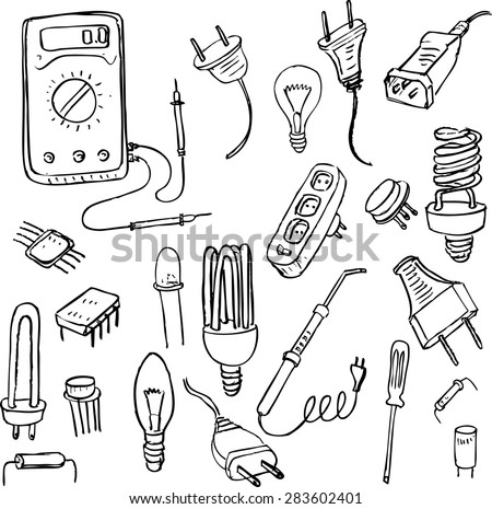set of electrical doodle objects, hand drawn vector design elements - stock vector