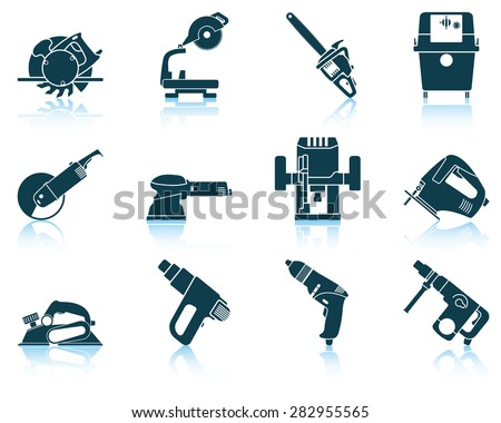 Set of electrical work tool icon. EPS 10 vector illustration without transparency. - stock vector