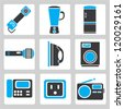 Set of electronic device icons, and household - stock vector