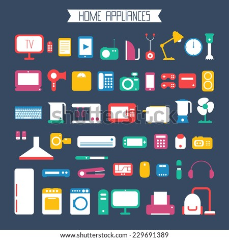 Set of electronic devices and home appliances  icons in flat style. Template vector elements for web and mobile applications. - stock vector