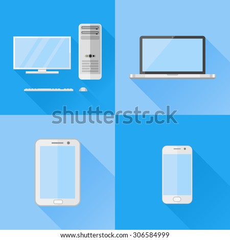 Set of electronic devices flat icons. Desktop computer, laptop, tablet pc and smartphone. - stock vector