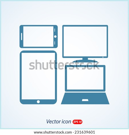 Set of electronic devices icon, vector illustration. Flat design style