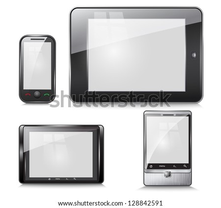 set of electronic devices, tablet and mobile phone, on a white background. Vector - stock vector
